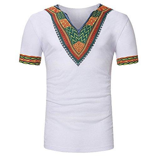 Traditionelle Dashiki (Shujin Herren Sommer Dashiki Shirt Traditionelles Oberteil mit afrikanischem Druck Beiläufige Festival Tribal Hemd T-Shirt Longshirt Tops (XL, Weiß 1))