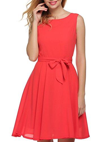 Zeagoo Damen Brautjungfernkleid Partykleid Prinzessin Hochzeit Kleid A-Linie Ärmellos Rot