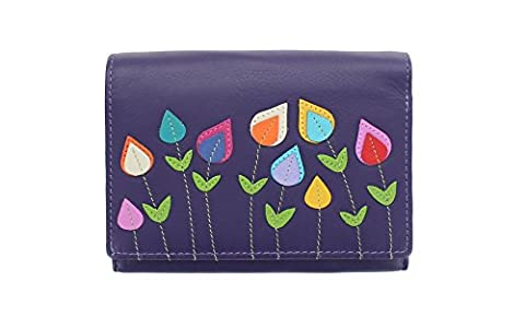 Mala Leather ASTOR Collection Leather Flower Applique Purse 3399_95