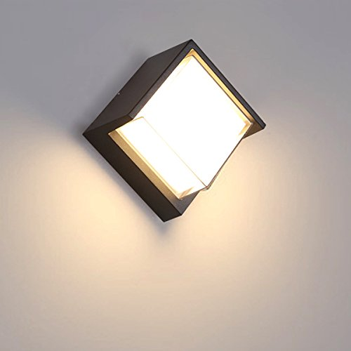 LANBOS 12W Applique Murale Extérieur LED Moderne Étanche Imperméable IP65/Aluminium+acryl/3000K blanc chaud/LED Lampe Murale,16X10CM (Square)