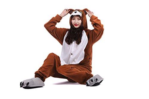 YUWELL Jumpsuit Kigurumi Tier Cartoon Fasching Cosplay Kostüm Sleepsuit Pyjama Schlafanzug Erwachsene, Eichhörnchen M (Height:160-170cm)