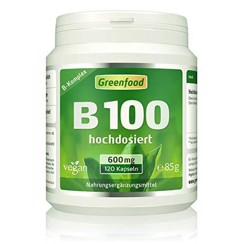 B-Komplex 100, extra hochdosiert, 120 Vegi-Kapseln – alle Vitamine der B-Gruppe. OHNE künstliche Zusätze. Ohne Gentechnik. Glutenfrei. Lactosefrei. Vegan.