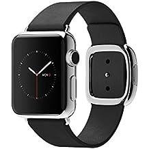 Apple Watch Edelstahl Smartwatch , Größe :38 mm Gehäuse, Armband:Leder - Modern, Armbandfarbe:Schwarz - S (135-150mm)