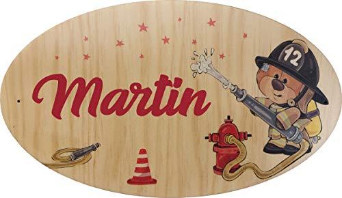 Décoration de Porte en bois pour une Chambre d'enfant (thème Sam le Pompier) - Le prénom de la plaque en bois est personnalisable - cadeau de naissance personnalisé - déco enfant & bébé