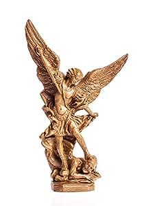 Statue Archange Saint Michel finition Bois
