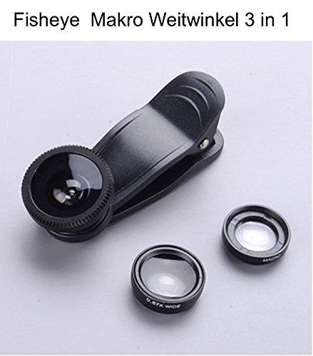 Handy Objektiv Fisheye Objektiv Clip-On Kamera Adapter Lens Handy Linsen Objektiv Set mit Fischaugenobjektiv Weitwinkelobjektiv Makro Objektiv Telekonverter Polarisator Handkamera für Smartphones LinQD800 Zubehör für iPhone iPad und Android Smartphones Schwarz