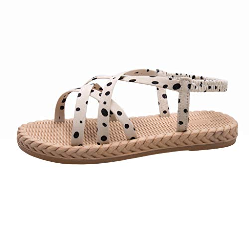 DDKK 2019 Damen Sandalen mit offenem Zehenbereich, breiter elastischer Riemen, Sommer, Kreuzschnürung, modische Sandalen, 1 Band, Knöchelriemen, flexible Strandschuhe US Size: 7.5 beige (Silber-dollar-fisch)