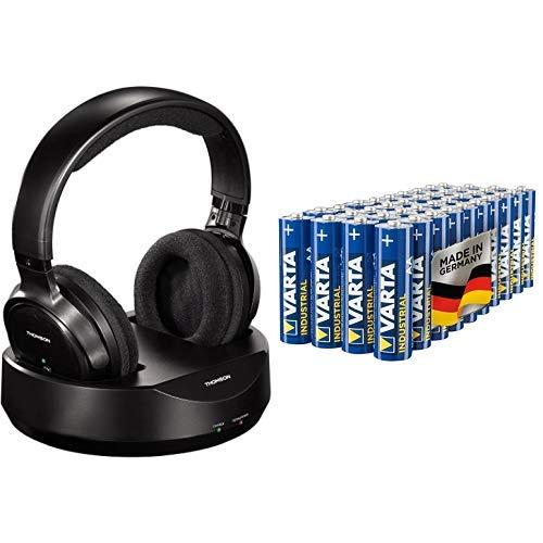 Thomson WHP3001BK Funkkopfhörer kabellos mit Ladestation schwarz & Varta Industrial Batterie AA Mignon Alkaline Batterien LR6 - 40er Pack, Made in Germany, umweltschonende Verpackung