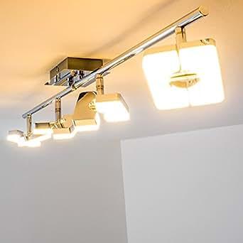led deckenstrahler 4 flammig mit verstellbaren leuchtk pfen led deckenspot aus metall. Black Bedroom Furniture Sets. Home Design Ideas