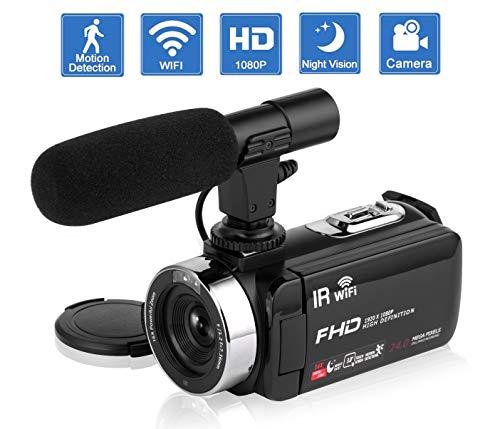 Camcorder Videokamera IR Nachtsicht WiFi Vlogging Kamera für YouTube Full HD 1080P 3,0