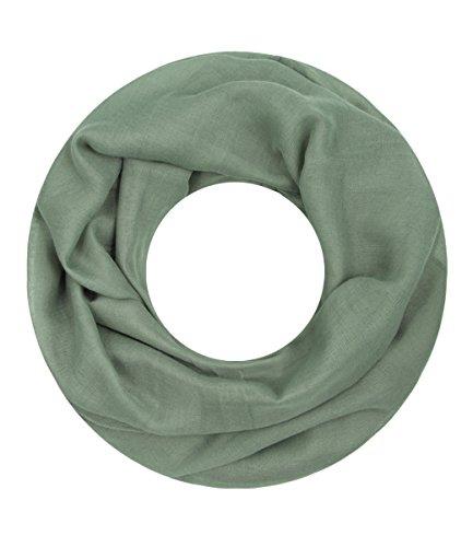 Majea Loop Cary Basic Schal Tuch Damen-schal Schlauchschal Rundschal Halstücher uni unifarben Loopschal einfarbig (khaki)