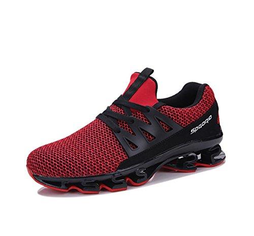 WSK Männer Sneakers Mesh Atmungsaktive Dämpfung Casual Schuhe Laufen Herrenschuhe Erhöhen Größe 39-47, Red, 46 - Größe 13 Herren Saucony