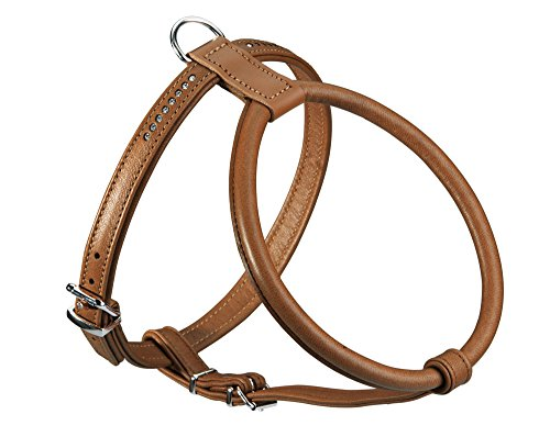 Hunter Round and Soft Elk Leather Petit Dog Harness with Crystals, 55 cm, Cognac