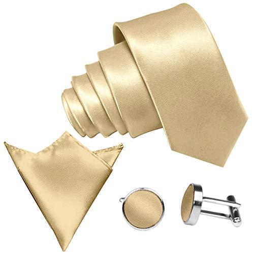 Seiden-schimmer-glanz (GASSANI 3-SET Krawattenset, 8,5Cm Breite Gelb-Goldene Herren-Krawatte Schmal Manschettenknöpfe Ein-Stecktuch, Bräutigam Hochzeitskrawatte Glänzend)