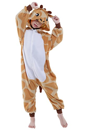 Tier Karton Pyjama Kinder Tier kostüme Jumpsuit Erwachsene Schlafanzug Unisex Cosplay Kostüm (Giraffe, 125: 134-145cm) (Kinder Kostüme Plus Size)