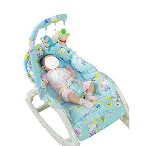 Huababy crescere bilanciamento del bambino in legno massello, altalena per il sonno del bambino, aumento della guardia del corpo del bambino per il bambino 0-4 blu