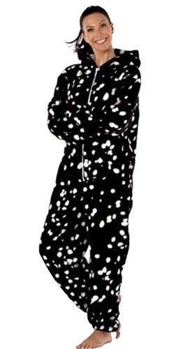 New Ladies Spot-combinaison en polaire, grenouillère, Tom Franks Pyjama Blanc - Blanc