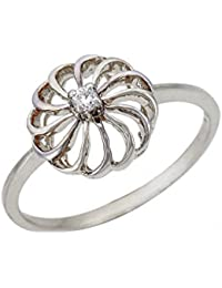 Silvernshine 0.03Cts Round Sim Diamond Solitaire Flower Engagement Ring In 14KT White Gold PL