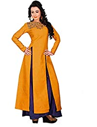 Purva Art Women's Mustard Cocktail Western Top With Plazo (PA_1512_Mustard_Top_With_Blue_Plazo_Stitched_2203_)