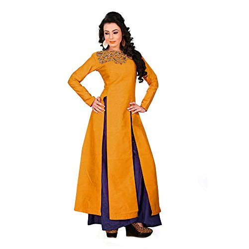 Purva Art Women\'s Mustard Cocktail Western Top with Plazo (PA_1512_Mustard_Top_With_Blue_Plazo_Stitched_2203_)