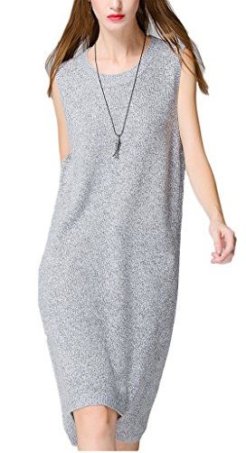 Bigood Robe Longue Femme Pull Sans Manche Col Rond Casual Mode Gris