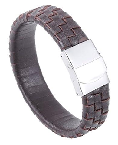 SaySure - Brown Leather Men Bracelet Stainless Steel Brazalet