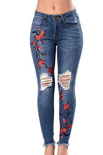 Mujeres Bordado Floral Roto Hole Stretch Skinny Jeans Leggings Pantalones Largos