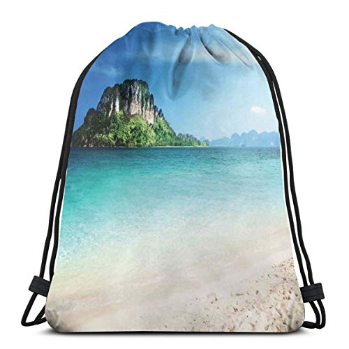 Nisdsgd Drawstring Shoulder Backpack Travel Daypack Gym Bag Sport Yoga, Grand Cliff In The Crystal Sea Water Tropic Island Scenery with Summer Beach,5 Liter Capacity,Adjustable. -