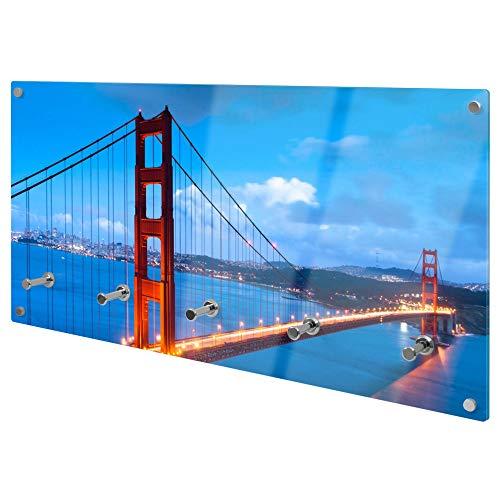 banjado Wandgarderobe aus Echtglas | Design Garderobe 80x40x6cm groß | Paneel mit 5 Haken | Flurgarderobe für Jacken und Mäntel | Garderobenleiste mit Motiv Golden Gate Bridge