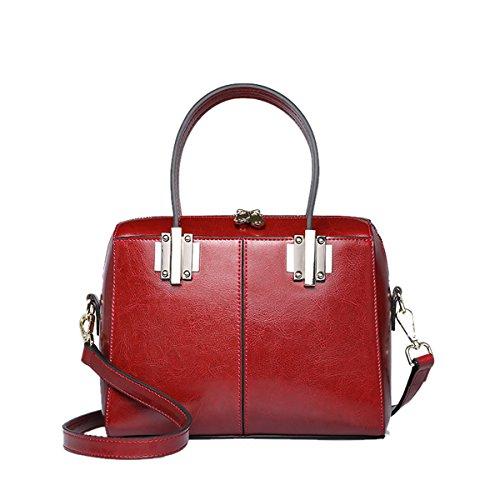 E-Girl Q0864 Damen Leder Handtaschen Satchel Tote Taschen Schultertaschen Weinrot