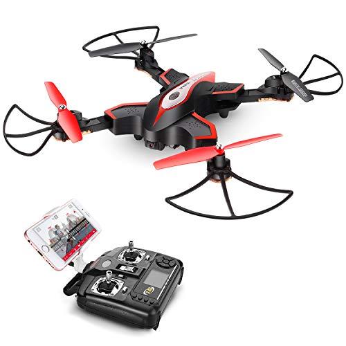 Drone Pieghevole Con Telecamera HD FPV DoDoeleph Syma X56W, Controllo Drone, FPV Droni,RTF, RC Quadricottero Con Funzione Senza Testa (Headless), Elicottero Nero.