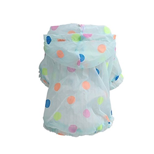 alkyoneus Cute Polka Dot Hund Kleidung Sonnenschutz Soft, Regenmantel Pet Apparel (Black Apparel Dog)