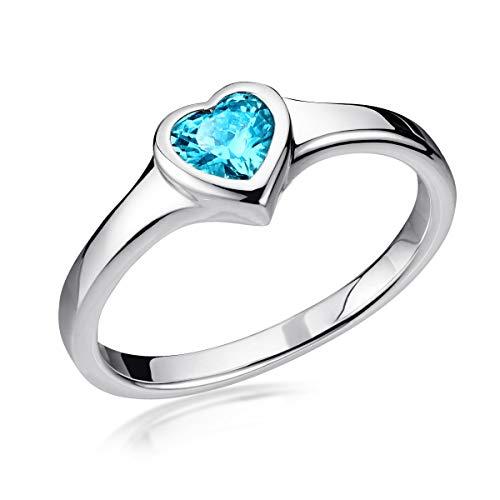 MATERIA 925 Silber-Ring Herz Damen - Verlobungsring Herzschmuck Frauen 62 20mm mit Zirkonia türkis in Etui SR-165-62 (Mit Türkis Silber Ring)