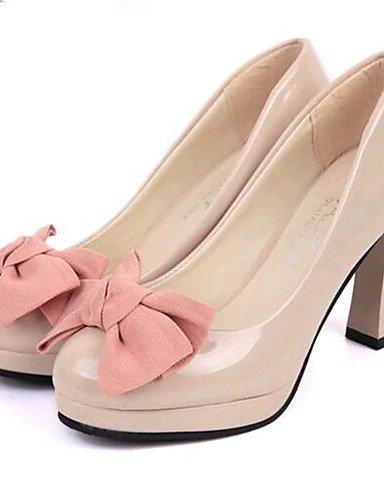 WSS 2016 Chaussures Femme-Soirée & Evénement-Noir / Beige-Gros Talon-Talons-Talons-Similicuir black-us6.5-7 / eu37 / uk4.5-5 / cn37