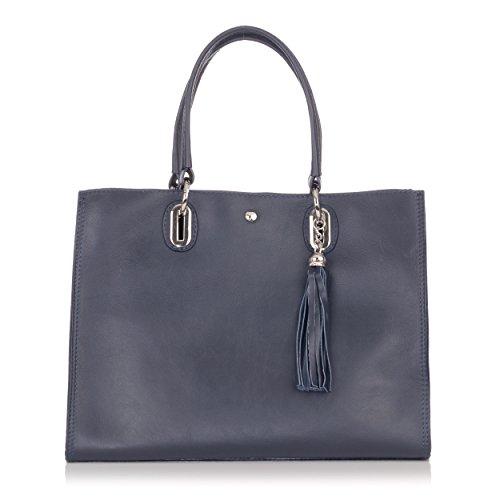Laura Moretti - Handtasche aus Leder mit Quastenanhänger (Handtasche Satchel Buckle)