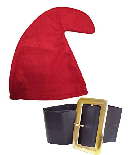Smurf Adult Kostüm - SEVEN DWARFS/DWARVES SMURF HAT GNOME HAT & BELT SET SNOW WHITE FANCY DRESS PARTY (RED)