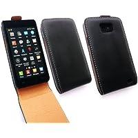 Emartbuy® Samsung Galaxy S2 Plus I9105 Lusso Di Cuoio Di Caso Di Vibrazione / Copertura / Sacchetto Nero / Tan