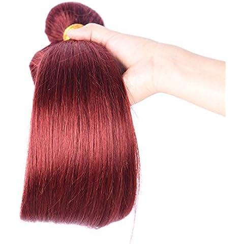 M@YZ quotidiano usura dei capelli umani delle donne 100% dritto stirare tende capelli parrucca di capelli lunghi di colore solido (3pcs) , 36cm