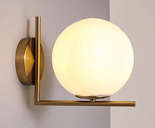 ZQ@QX Traditionelle dekorative Wand Lampe einfache Hotel-Café Restaurant Wand Lampe Glas Runde Wandleuchte (275 * 220mm), warm white