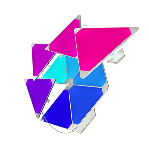 nanoleaf Light Panels Rhythm Starter Kit - 9x Modulare Smarte LED mit Sound Modul, App Steuerung [16 Millionen Farben, Alexa kompatibel, Plug and Play für iOS [Apple Home Kit kompatibel) & Android - Leaf Wand