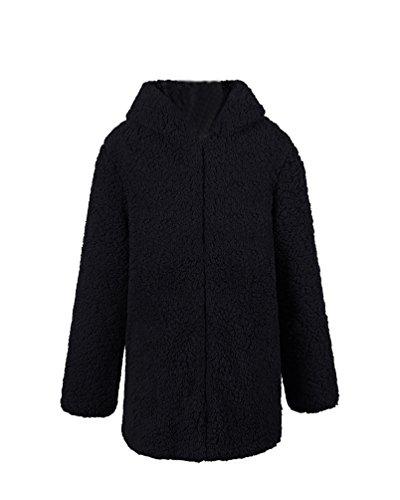 Yuandian donna autunno inverno casuale lunga cappotto di pelliccia ecologica con cappuccio baggy tinta unita morbido caldo elegante sintetica pellicce giacca giubbino nero m