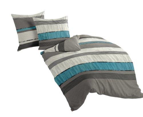 Bierbaum Bettwäsche 6472, Mako-Satin, Made in Germany, silber 09, 200x200 + 2x 80x80 cm, für das Doppelbett