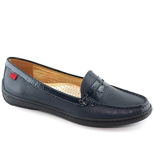 Leder-moc-loafer (MARC JOSEPH NEW YORK - Atlantic Loafer, Damen, echtes Leder, hergestellt in Brasilien Damen, Blau (Navy Grainy), 37.5 B(M) EU)