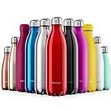 Proworks Bottiglia Acqua in Acciaio Inox, Senza BPA Vuoto Isolato Borraccia Termica in Metallo per Bevande Calde per 12 Ore & Fredde 24 Ore, Borraccia per Sport, Lavoro e Palestra - 1000ml - Rosso