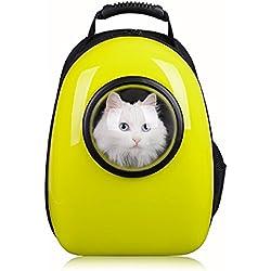 Petcomer Mochila Cápsula Impermeable Transportín en Forma de Burbuja para Mascotas Perros Gatos (Amarillo)