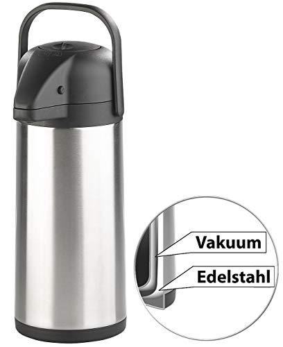 Rosenstein & Söhne Pump-Isolierkanne: Doppelwandige Vakuum-Isolierkanne mit Pumpsystem, Edelstahl, 3 Liter (Edelstahl-Pump-Vakuum-Isolierkanne)