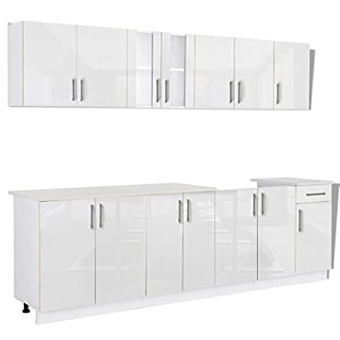 241610 8 pcs High Gloss White Kitchen Cabinet Unit with
