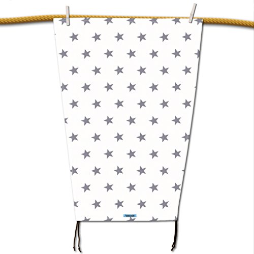 Hochwertiges Sonnensegel (weiss) mit grauen Sternen für den Kinderwagen mit UV-Schutz, Sonnenschutz, universell passend