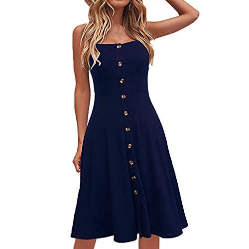 Floweworld Damen Sleeveless eine Linie kleidet beiläufiges festes Knopf-dünnes Kleid-Elegante Riemen-Partei-langes Kleid
