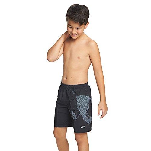 Jungen Gefüttert Swim Trunk (Zoggs Jungen Badehose Hai-Motiv, Seiten mit Schlitzen S schwarz)